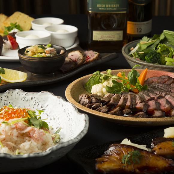 ◆新年会人気NO.1◆豪州産サーロインをメインに季節のお料理全6品とゆったりと過ごせる3時間飲み放題付【満足プラン】